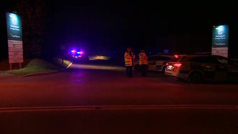 Scene of chemical spill in Langley near Maidstone