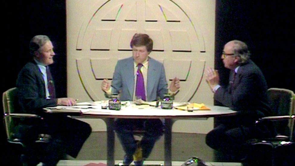 Tony Benn and Roy Jenkins debated each other on Panorama in 1975