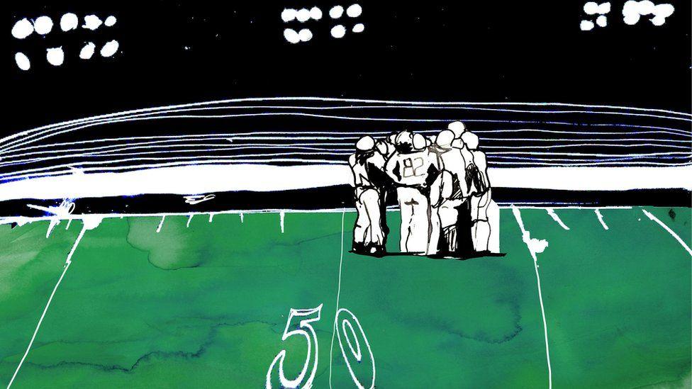 Illustration of football huddle