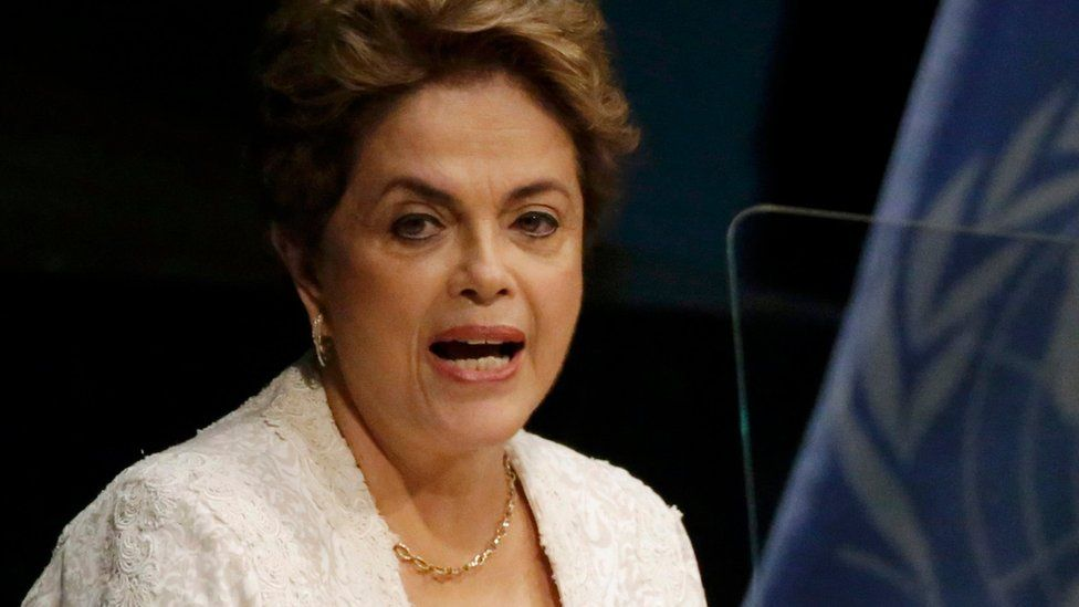 Brazilian President Dilma Rousseff during speech at the UN