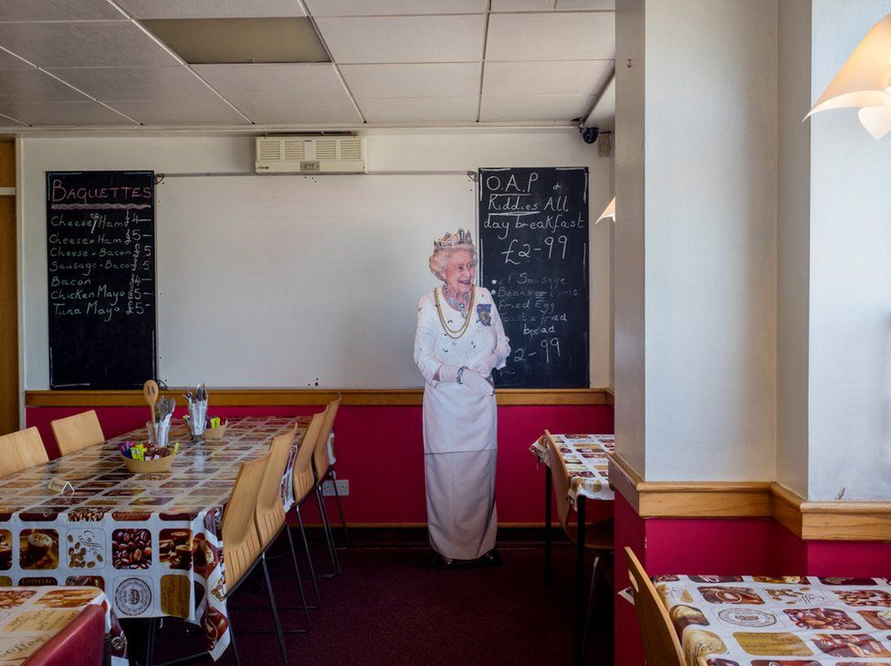 Customers at Flo's Cafe can get a photo taken with a cut out of the Queen. Blyth, Nottinghamshire.