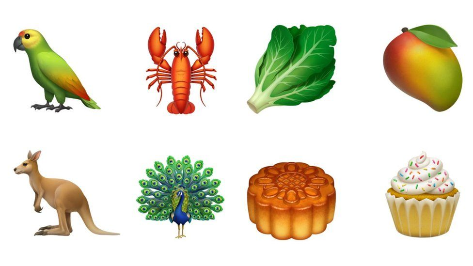 Emojis including a kangaroo, a peacock, a cupcake, a lobster, a parrot, a lettuce and a mango
