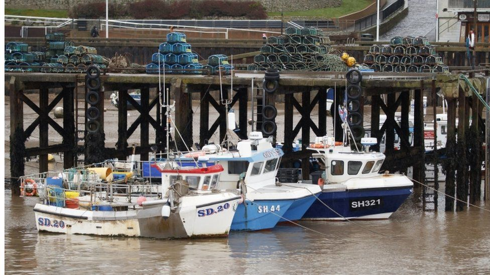 Fishing boats at the fishing port at Bridlington Harbour in Yorkshire