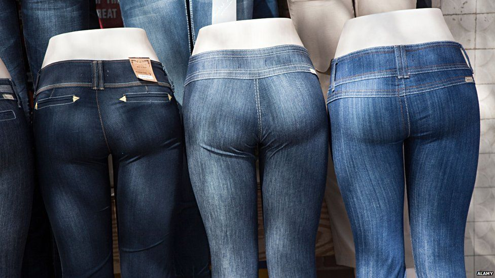 Mannequins in tight jeans