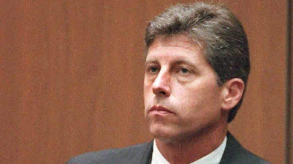 Former Los Angeles police Detective Mark Fuhrman on the witness stand in September 1995