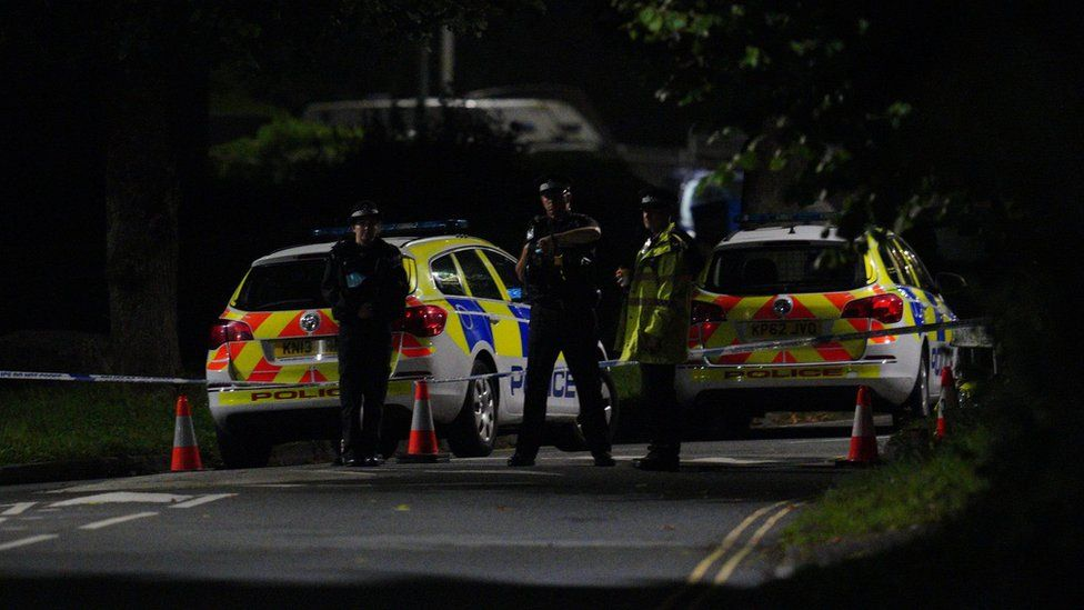 Emergency services near the scene of incident on Biddick Drive, in the Keyham area of Plymouth