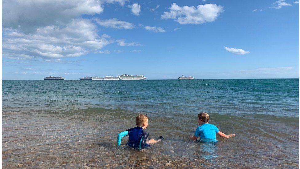 Cruise ships off the coast of Weymouth