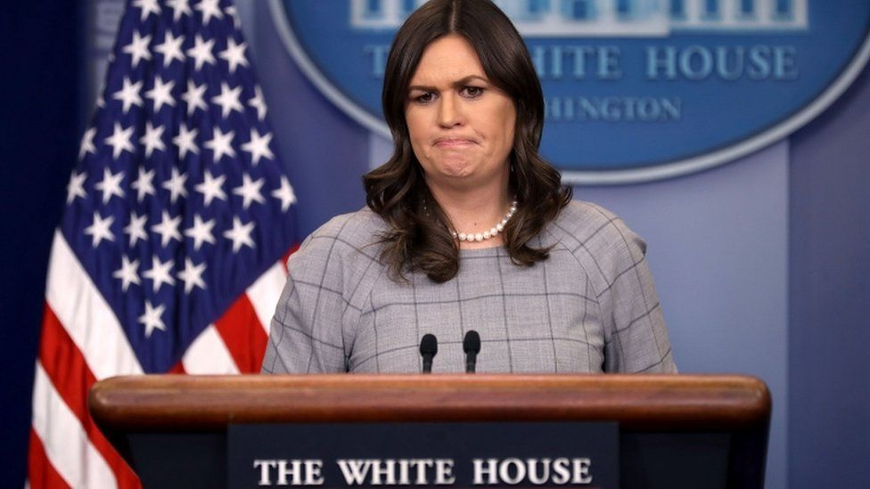 Sarah Sanders pictured at January 3 White House press briefing