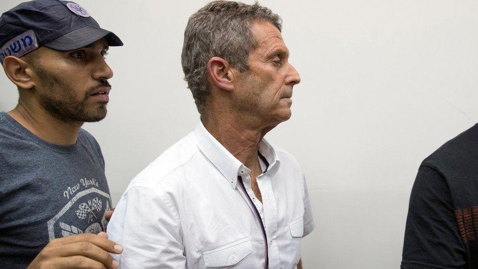 Beny Steinmetz sits at the Israeli Rishon Lezion Justice court, near Tel Aviv on August 14, 2017
