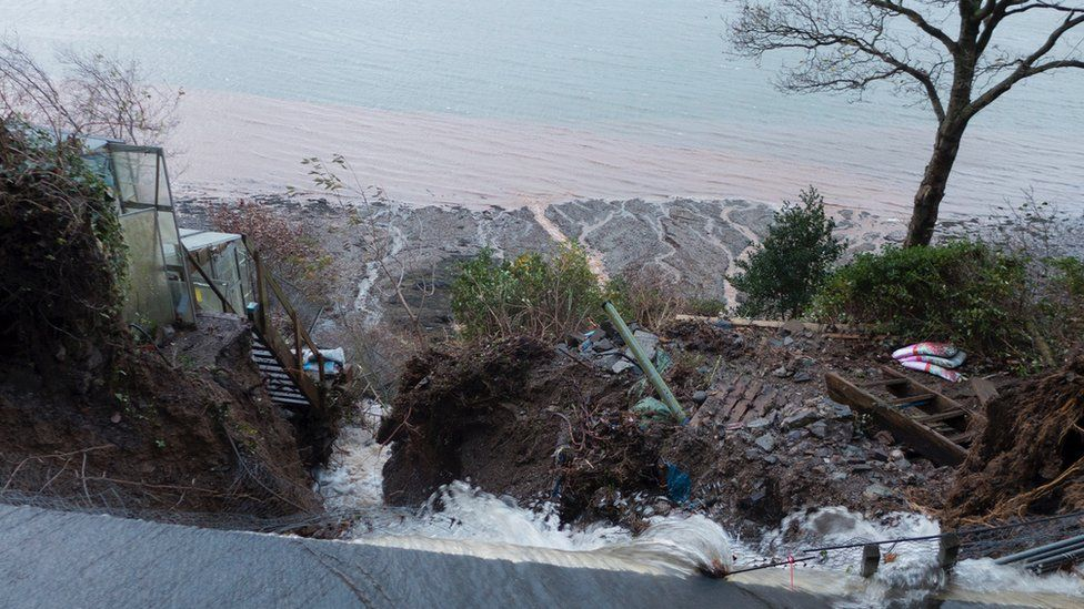 Flood water sweeping away land on the A545 between Menai Bridge and Beaumaris on Anglesey