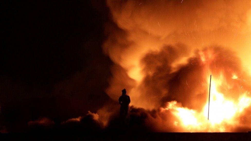 A fire burns at the National Museum of Brazil in Rio de Janeiro, Brazil on 2 September 2018.