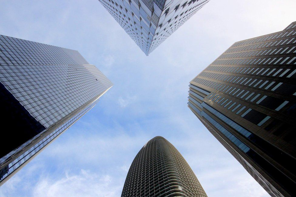 Four skyscrapers from below