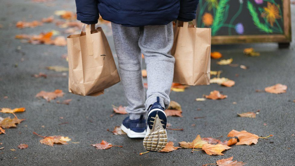 Child carrying lunch bags
