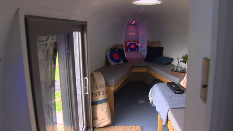 Seating and a bed inside the helicopter