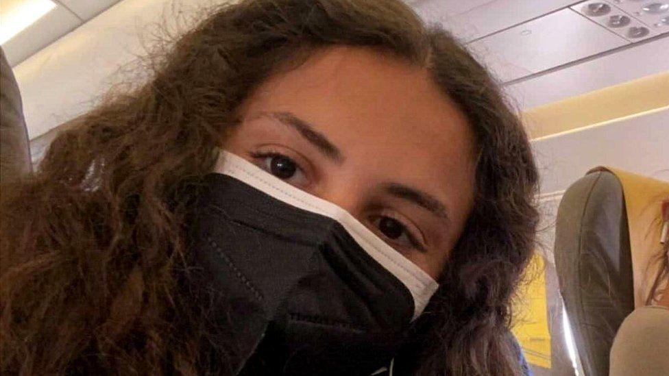 Marina on plane home to mainland Spain, 1 Jul 21