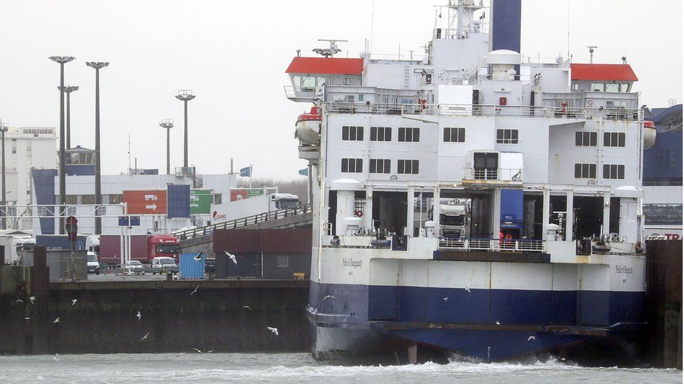 Lorries are loaded onto a P&O ferry in the port of Calais, France