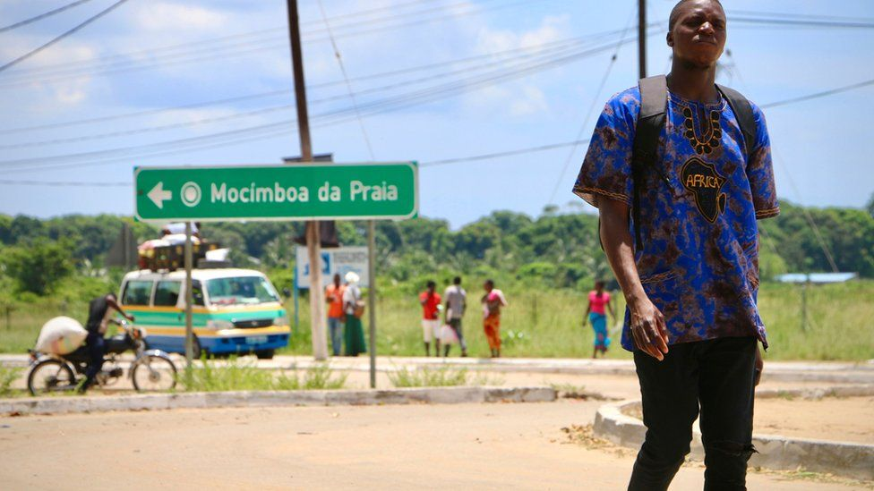 A road sign pointing to Mocimboa da Praia in northern Mozambique