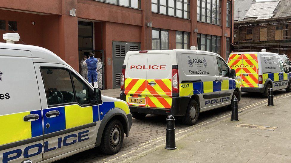 Crime scene at Foundry Lane, Ipswich