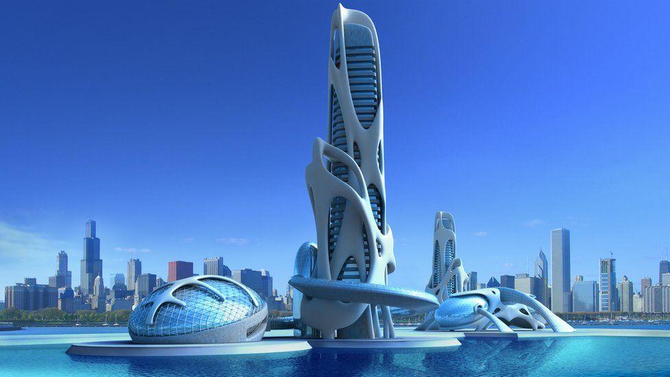 Futuristic city on water