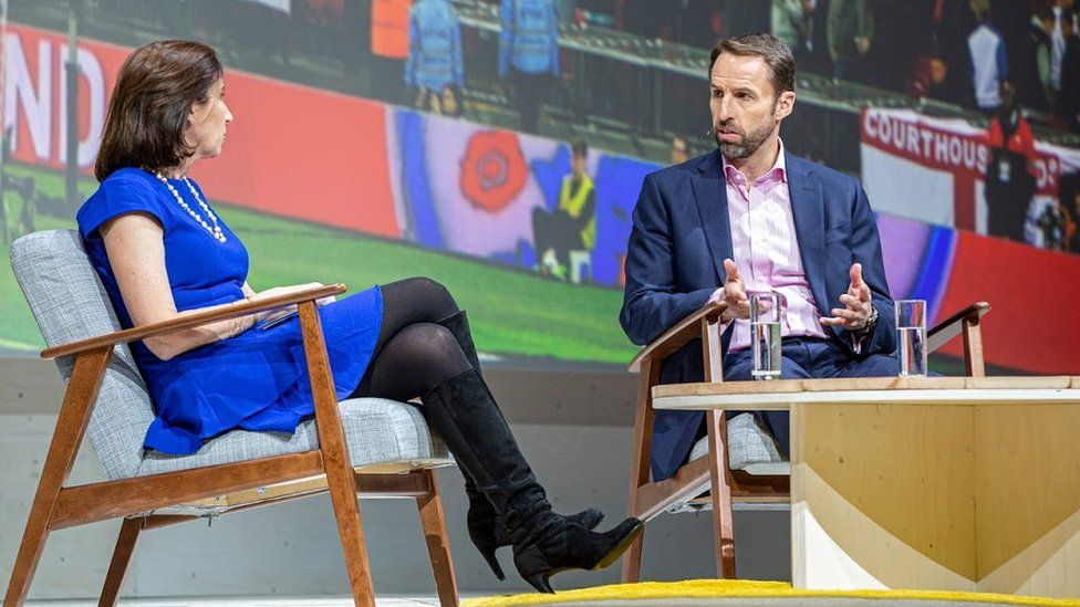Gareth Southgate in conversation on stage at a Google event in London