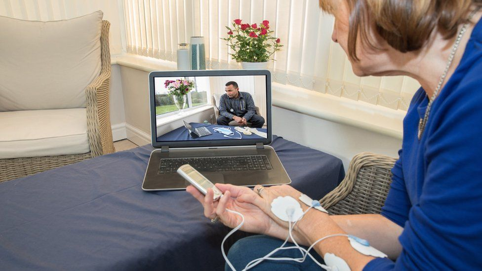 Stock image of patients having a virtual appointment with her doctor