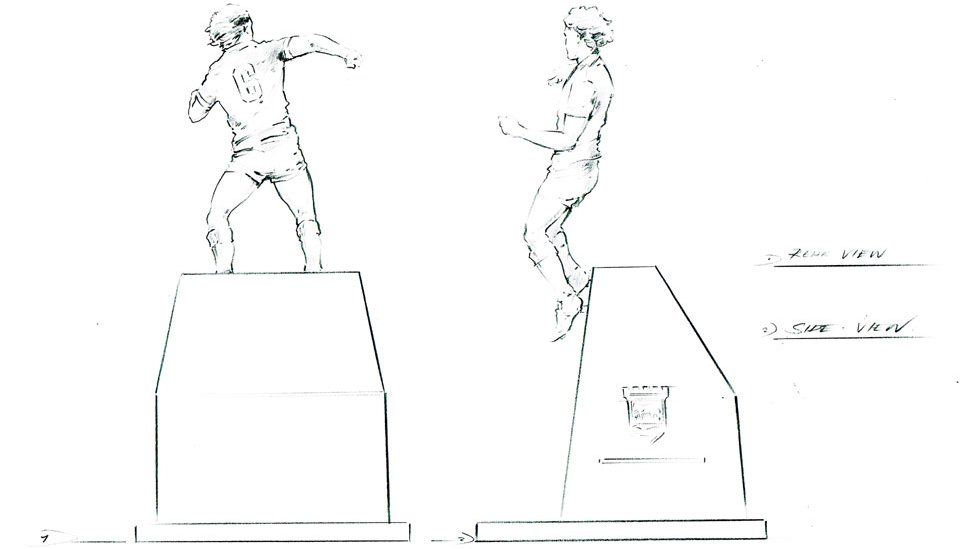 The design of the statue in honour of Kevin Beattie