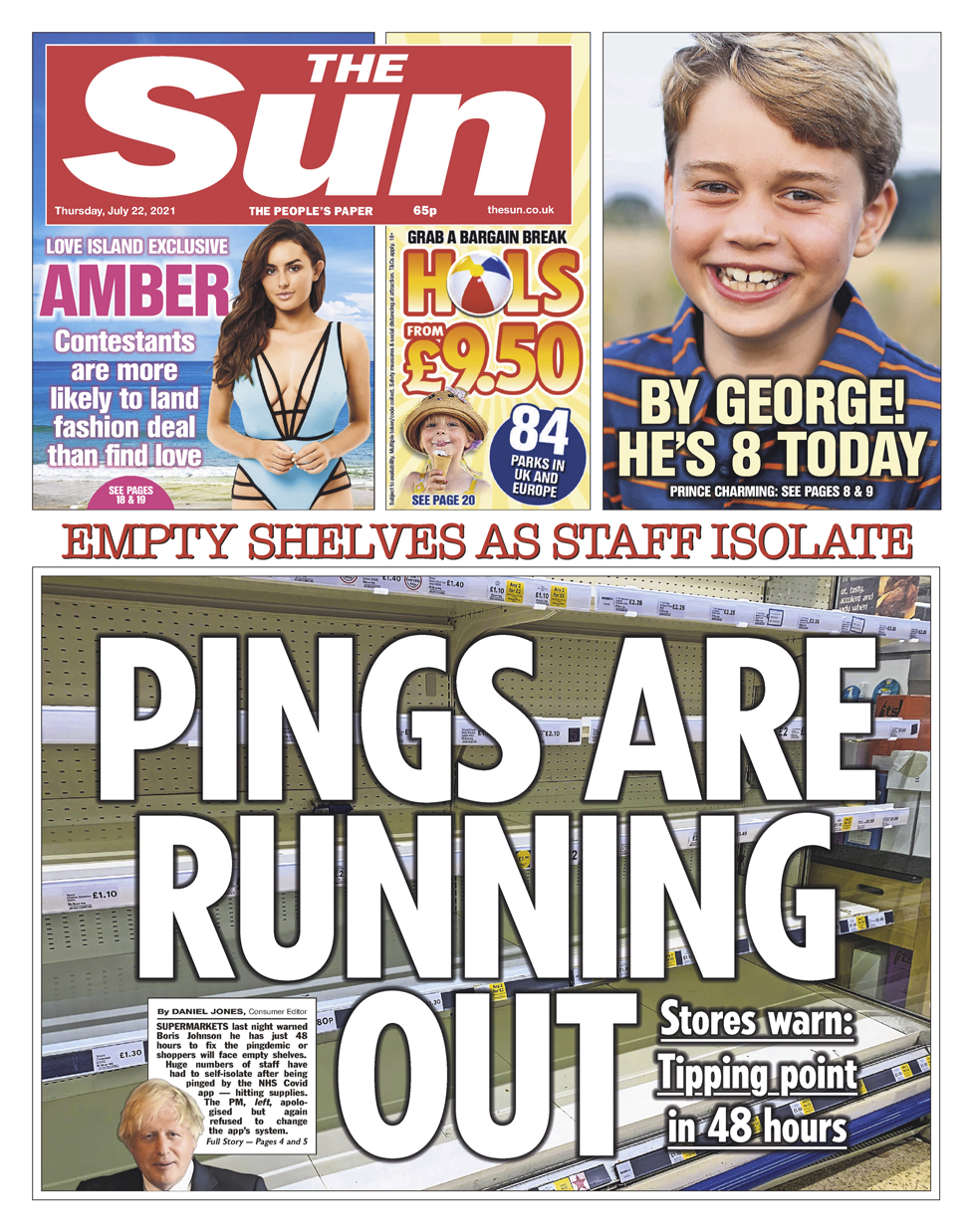 Sun front page 22/07/21
