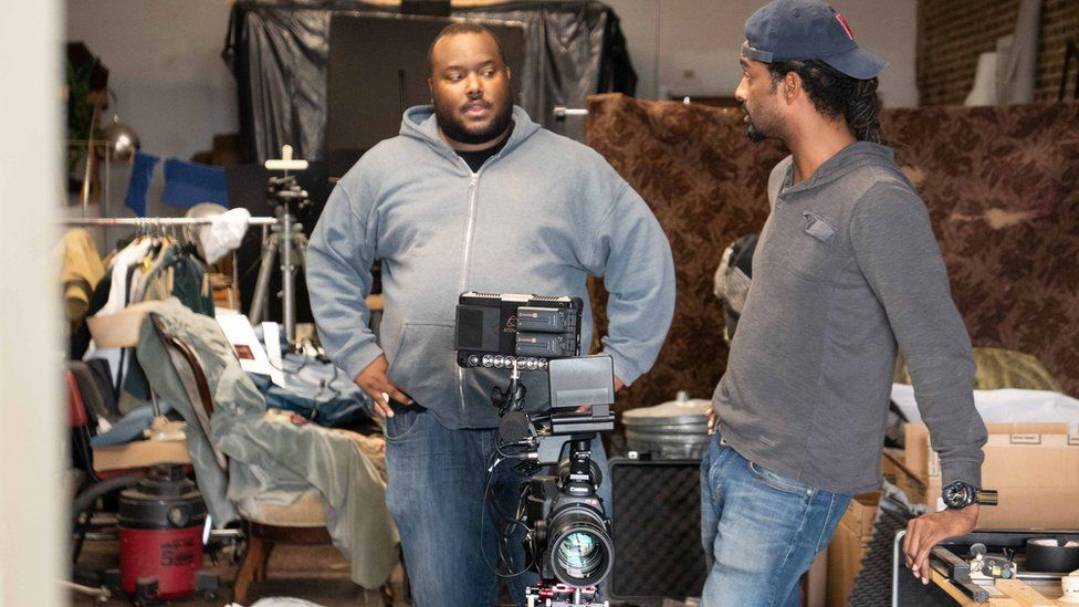 Christopher Everett on the set of Wilmington on Fire 2