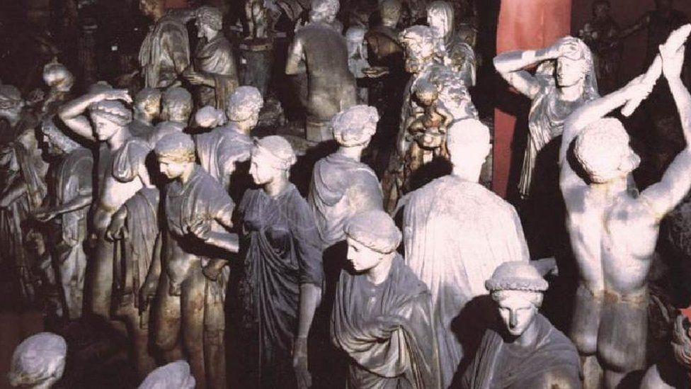 Statues of the Torlonia collection in a store room in the 1980s