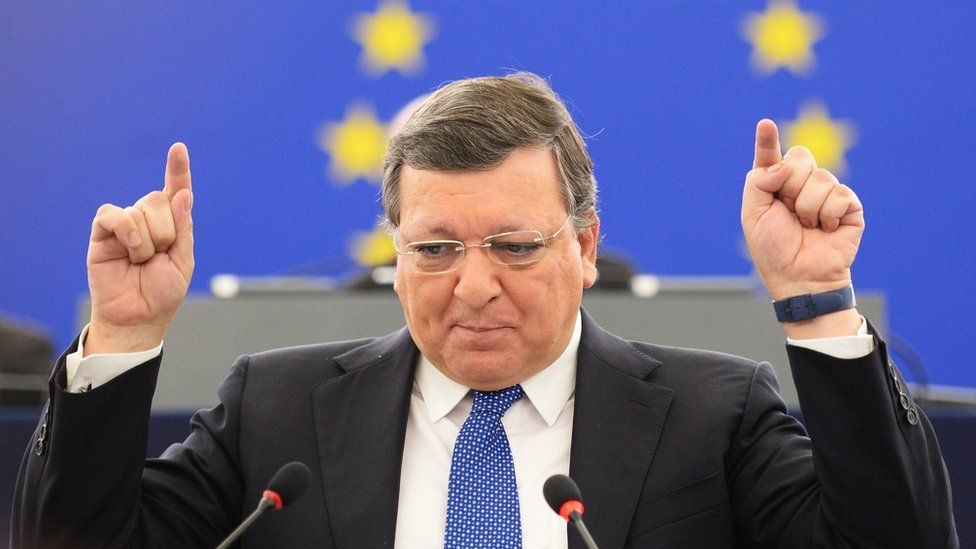 A file picture dated 21 October 2014 shows then European Commission President Jose Manuel Barroso delivering his last speech at the European Parliament in Strasbourg