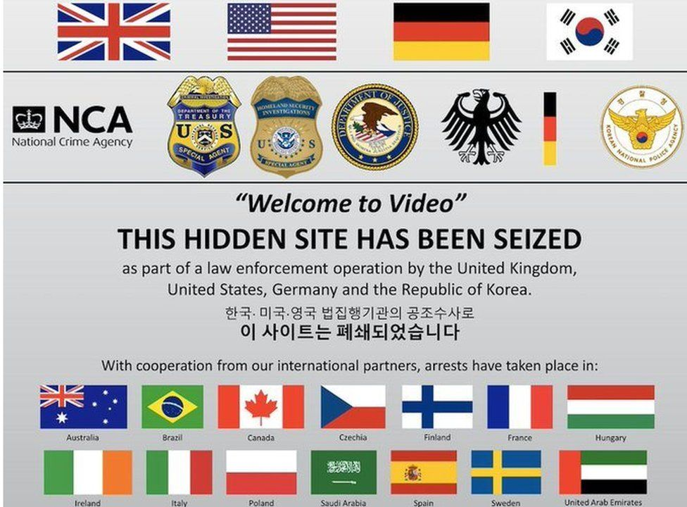 """A """"this site has been seized"""" screen is shown here with the logos of US, UK, German and other law enforcement agencies"""
