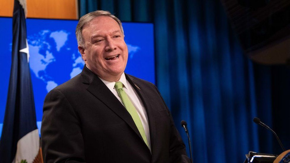 US Secretary of State Mike Pompeo speaks the press at the State Department in Washington.
