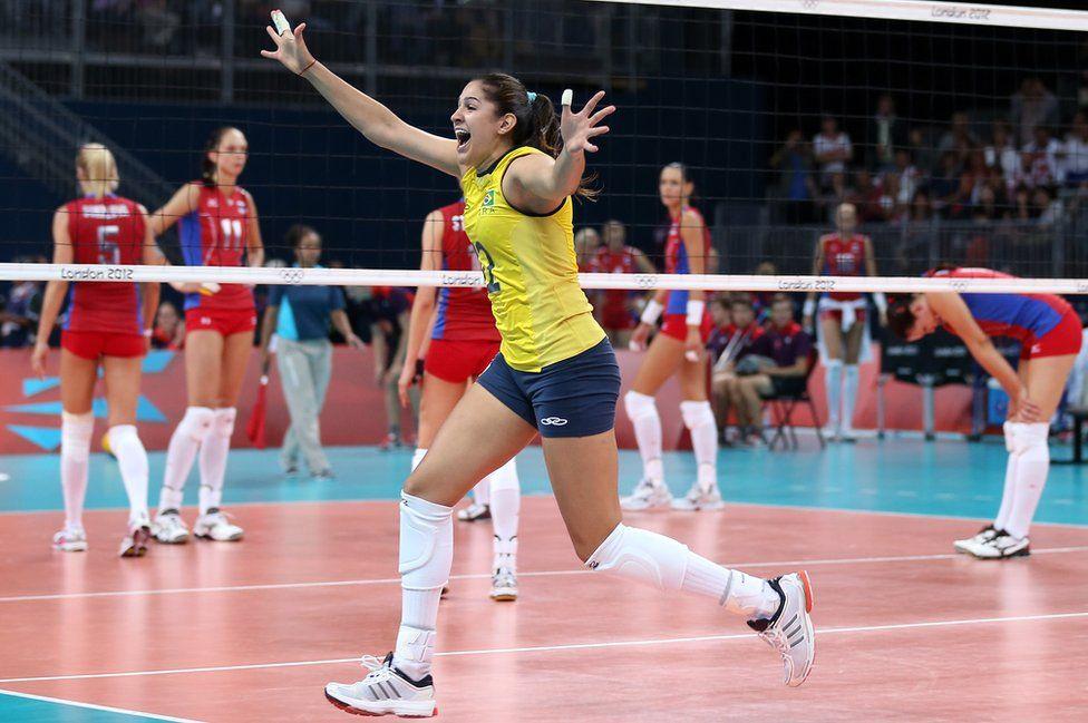Natalia Pereira, de Brasil, celebra