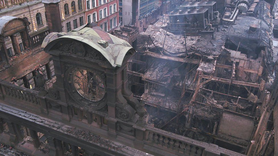 The fire-damaged inside of the Bank Buildings as seen from above