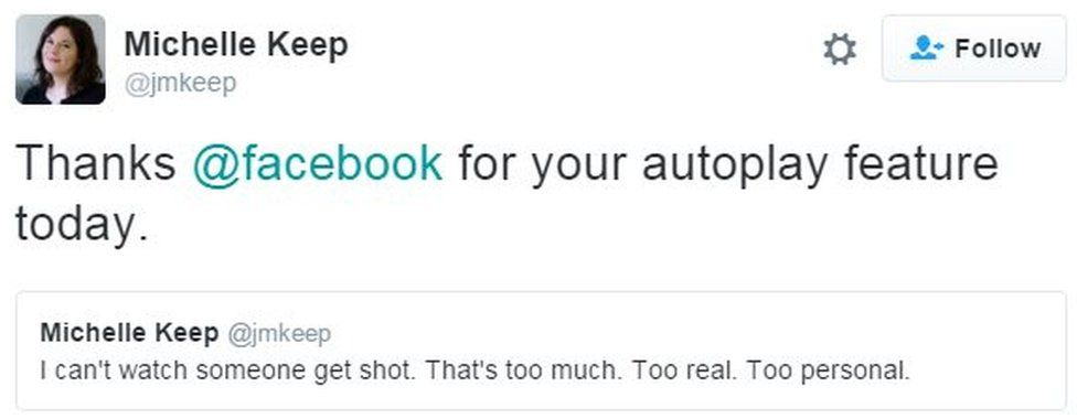 Tweet from user jmkeep reads: Thanks @facebook for your autoplay feature today.