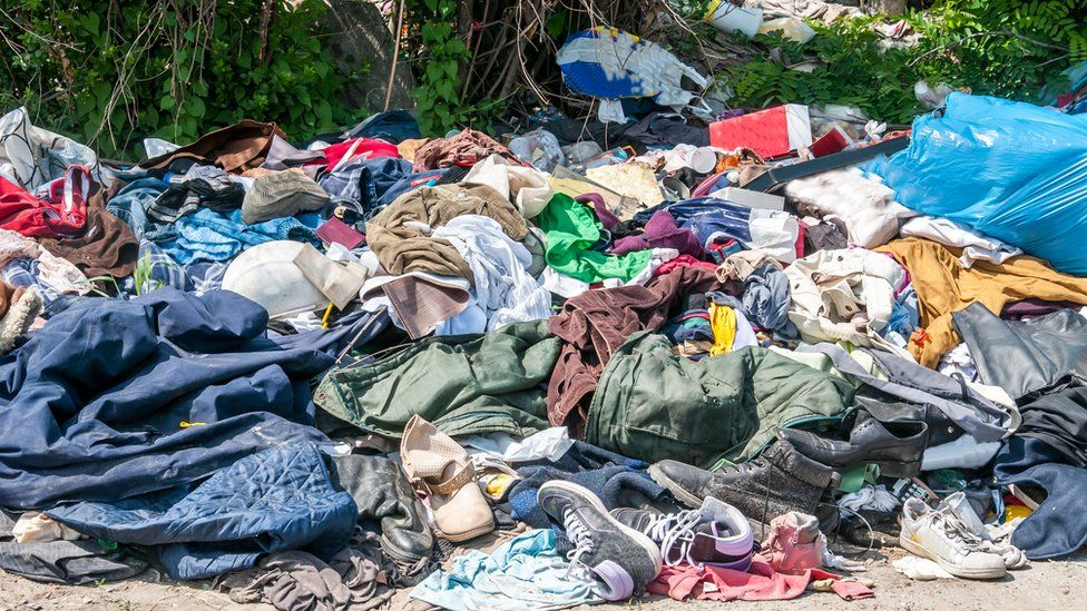 Clothes on a landfill