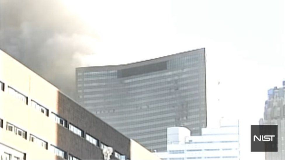 Screengrab of the moment building 7 collapsed