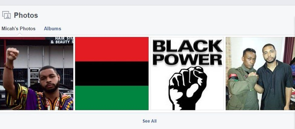 Images from Micah Johnson's Facebook, showing him saluting, an-African or Black Liberation flag and a photograph of him with Professor Griff, a former member of the US rap group Public Enemy