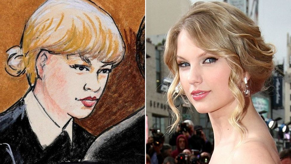 Composite image showing a court drawing of Taylor Swift and a file photo of Taylor Swift from 2009