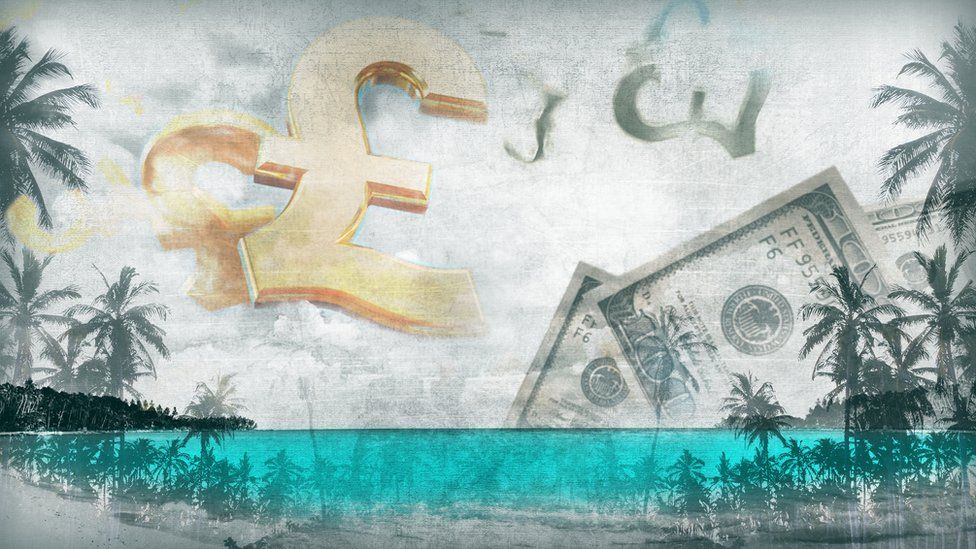 graphic of dollar bills, pound coins and palm trees