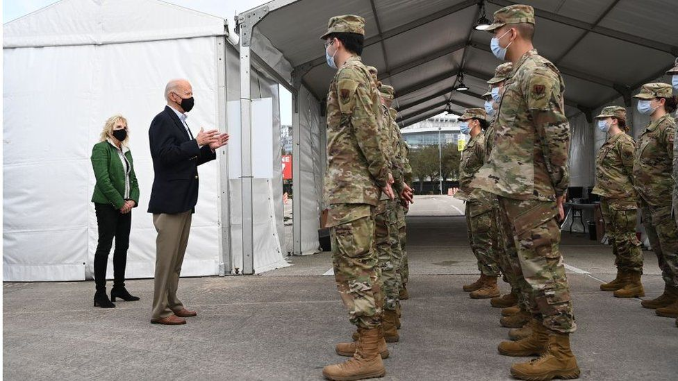 Mr Biden addressed troops at the NRG Stadium in Houston