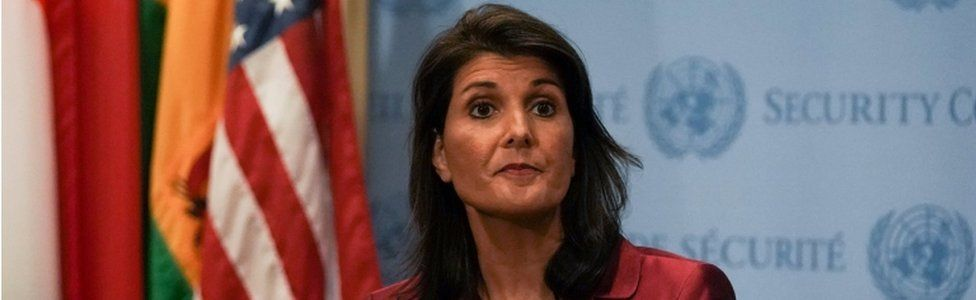 U.S. Ambassador to the United Nations Nikki Haley speaks during a news conference at U.N. headquarters in Manhattan, New York