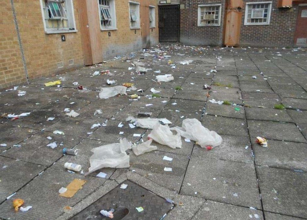Rubbish at HMP Onley