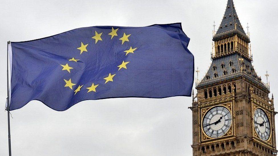 EU flag flying near the Houses of Parliament