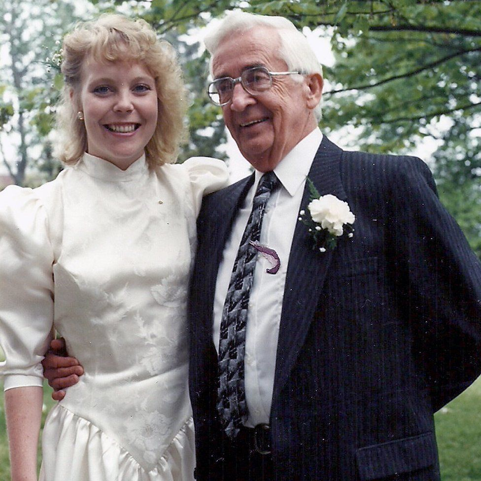 On her wedding day in 1990 with Stan, who gave her away