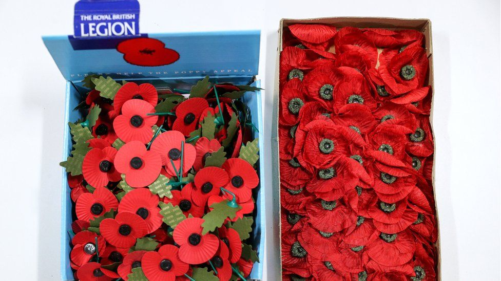 A box of new poppies next to the ones found by Bernie Axtell