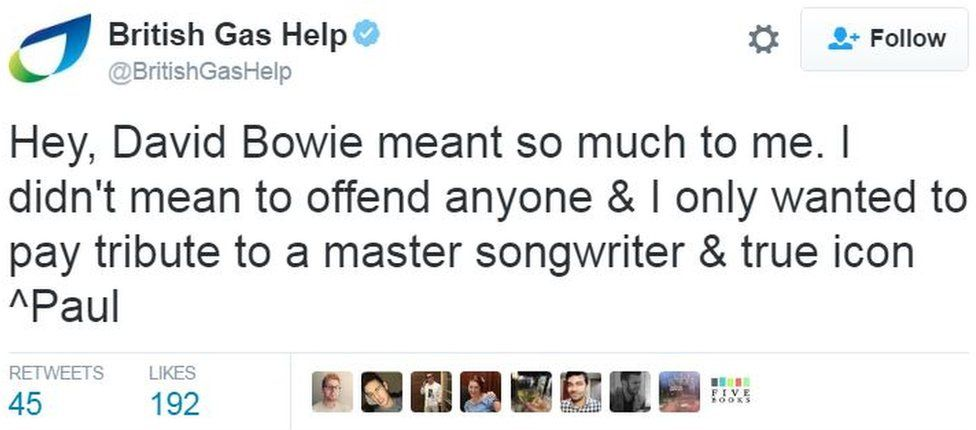 Tweet: 'Hey, David Bowie meant so much to me. I didn't mean to offend anyone & I only wanted to pay tribute to a master songwriter & true icon ^Paul'