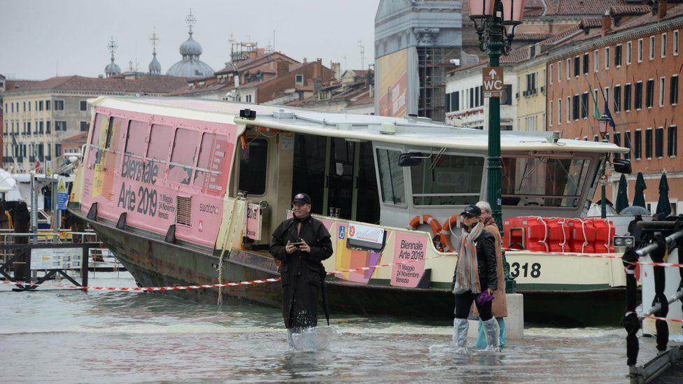 A vaporetto boat trapped along the Riva dell'Arsenale
