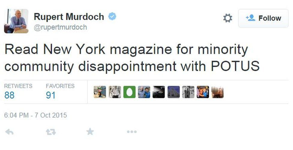 Murdoch tweets: Read New York magazine for minority community disappointment with POTUS
