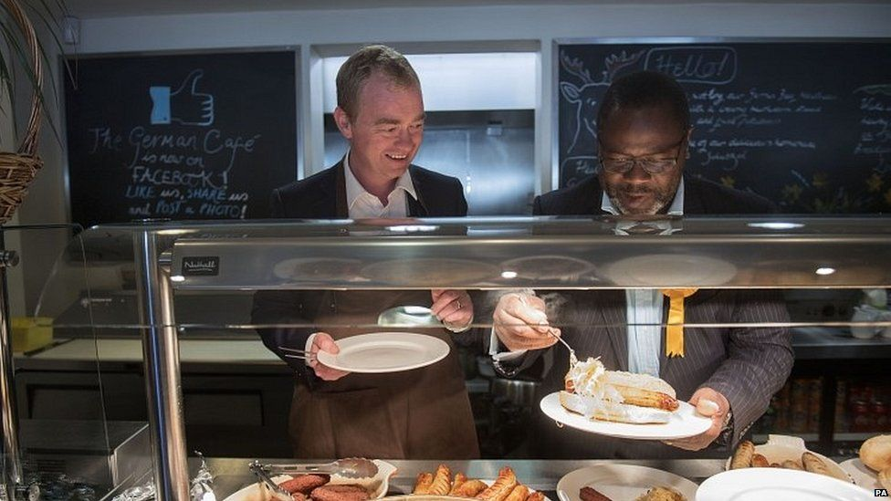 Tim Farron with Lib Dem candidate Ade Adeyemo in Solihull